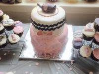 Custom cake with matching custom cupcakes