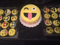 Emoji cake with custom cupcakes