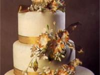 Golden Ribbons Wedding Cake