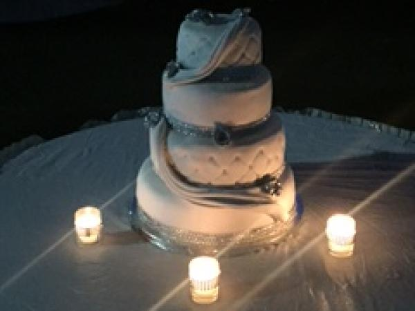 Stacked, tiered and quilted wedding cake